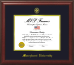 Diploma Frame - Cherry Satin-NAVY & Gold Matting